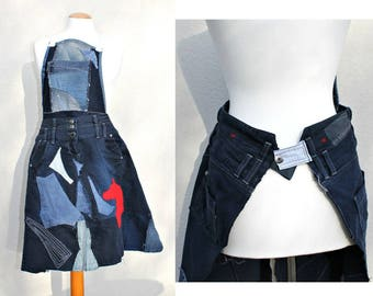 Handmade Upcycled Blue Denim Apron Vintage jeans Wrap Layering Applique Patchwork Unique Red Horse Repurposed Denim Cafe owner Wearable art