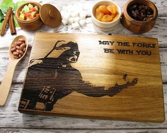 Star Wars Darth Vader Cutting Board Force Kitchen Decor Chopping Block Personalized Cutting Board Custom Engraved Cutting Board Gift Idea