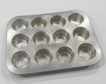 Worthmore Aluminum Mini Muffin Tin Cupcake Pan Vintage Kitchen Bakeware