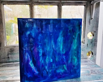 12x12, Abstract, Resin Art, Cradled Panel, Fine Art, Abstract, Blues