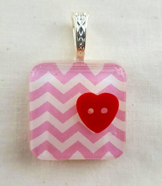 Pink chevron pendant. Red heart pendant. Girly pendant. Resin jewelry for girls