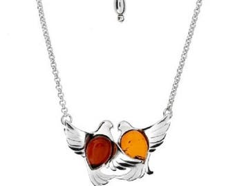 Dove necklace in amber cherry and cognac on 925 silver