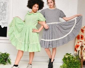 60s Vintage Green & White Plaid Handmade Square Dancing Prairie Knee-Length Ruffle Frilly Dress