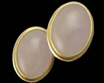 Gold Rose Quartz Earrings, Vintage 14K Gold Rose Quartz Cabochon Earrings With French Backs