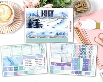 July Winter theme Monthly View Stickers • Erin Condren Life Planner