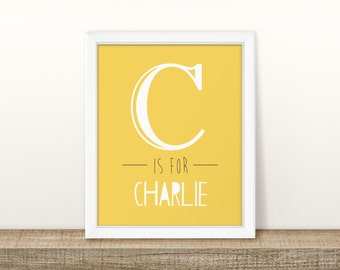 Large Letter (Yellow) - Personalised Nursery Print - Children's Wall Art - Baby Nursery Decor