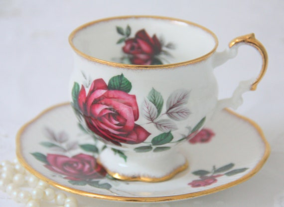 Vintage Elizabethan Bone China Cup and Saucer, Red Rose Decor, England