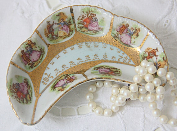 Vintage Small Porcelain Candy Dish, Love Story Decor, Beehive Shield Mark