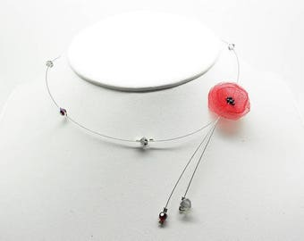 wire Choker necklace poppy and black and Red swarovski beads