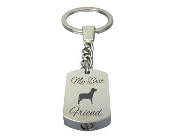 Best Friend Dog Pet Urn Keychain - Memorial Ash Keepsake Jewellery - Personalised Engraved