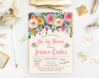 Floral Baby Shower Invitation, Floral Baby Shower, Girl Baby Shower Invitation, Floral Invite