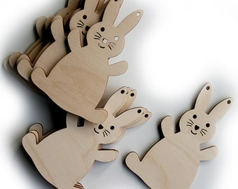 10 Wooden Rabbits, Wooden Bunnies, Easter Bunnies, Nursery Decorations,Wooden Craft Shapes