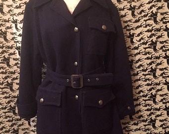Vintage 1960s Davis of Boston Peacoat Navy Blue Wool Jacket Jonathan Logan Mod Retro Coat