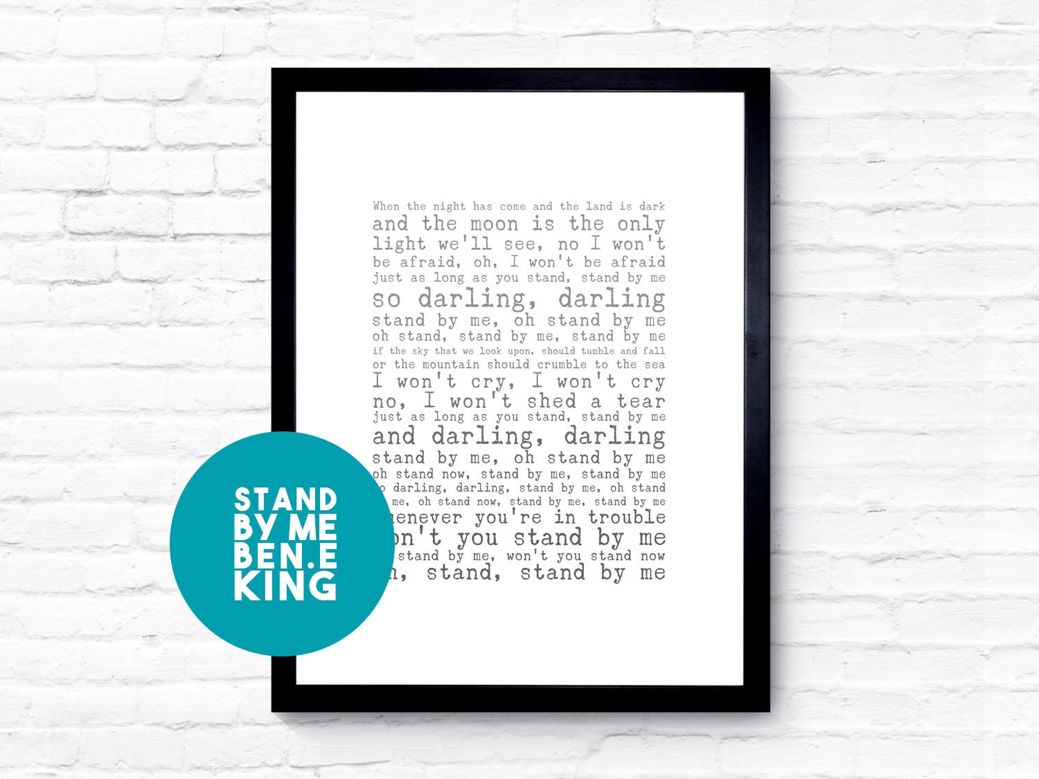 Ben E King Stand By Me Lyrics, Engagement Gift, Anniversary Gift, Song Lyric Print, Personalised Song Lyric Print, Unique Wedding Gift