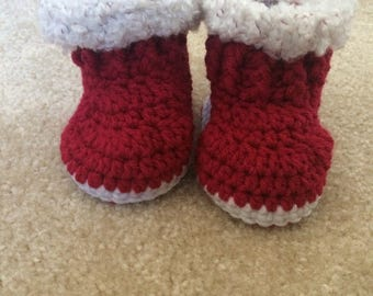 Vibrant Red Baby Booties