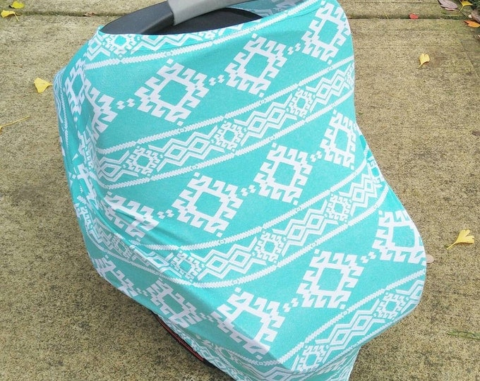 Stretchy Car Seat Cover/Nursing Cover by Solchan || Multiuse Stretch Baby Carseat Cover, teal aqua aztec canopy