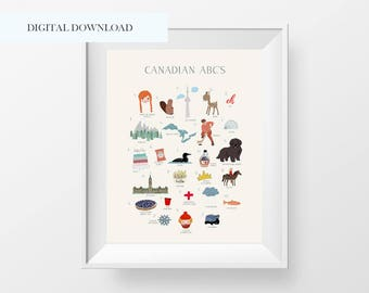 Canadian ABC Wall Art Printable - Canada 150 Wall Print - Canada Birthday Wall Art - Kids Room Decor - Nursery Decor - Alphabet Poster