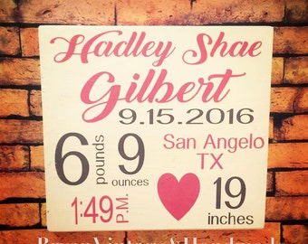 Handpainted Wooden Sign Birth Announcement - Subway Art Style- Personalized Customized