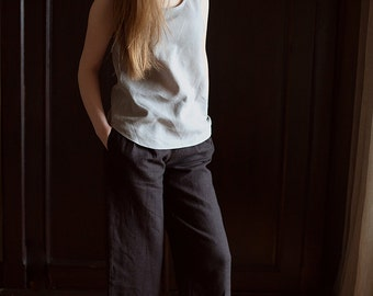 100% Linen Brown Trousers, hand made in London, sustainable, artisan, fashion
