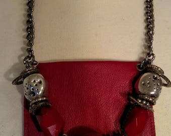 Red Leather and Chain Necklace with Beads and Hidden Pocket for Valuables