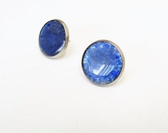Blue Beer Bottle Earrings, Large Earrings Something Blue, Bridesmaid Gift, Post Stud, Glass Stud Earrings, Women, Recycled, Post