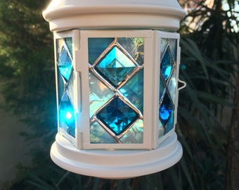 lantern ,stained glass lantern ,centerpiece ,wedding decoration  ,rusting lantern ,garden tea light ,vintage look latern,marine lantern ,han