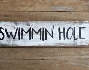Pool Sign, Patio Wood Sign, Swimming Hole Wood Sign, Outdoor Pool Sign, Lake House Decor, Nautical Bathroom Decor, Nautical Nursery Decor