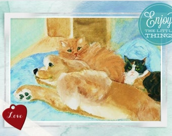 """Note card: Based on my original watercolor, """"Whose bed is it anyway"""" Paper and party supplies, Stationary, Art and collectibles, Pets, Cats"""