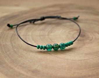 Men's Stone Cord Bracelet / Men's Cord Bracelet