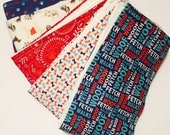 Set of Cloth Diaper Burp Cloths, Baby Boy Puppy Gift, Red and Blue Baby Gift