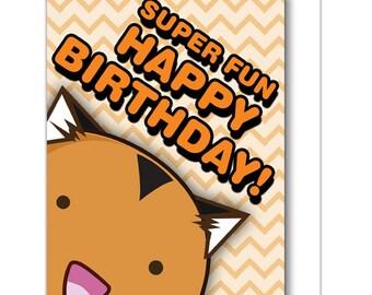Super Fun Happy Birthday Tiger Greeting Card Bday cat Orange Funny Cute Kawaii Kitty Fuzzballs Gift Idea For Her Present