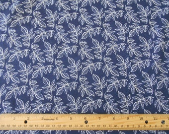 Navy with white leaves cotton fabric by the yard