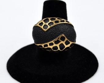 Gunmetal Stainless Steel Golden Caged Oblong Black Epoxy Ring