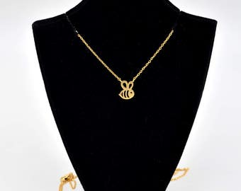 Metallic Dainty Golden Bumble Bee Charm Chain Linked Necklace