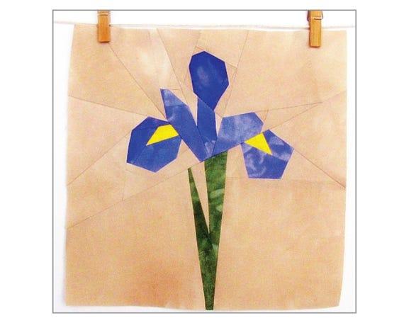 BLUE IRIS Quilt Block Pattern Paper Piecing 10 x