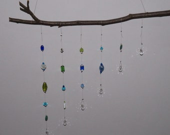 SunCatcher windchime wind chime Dreamcatcher mobile glass beads crystal glass beads aqua