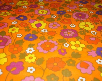 Vintage fabric cotton fabric hippie tissu cotton 70's flower power - 70s unused / new 50x115cm / 19 x 45 '