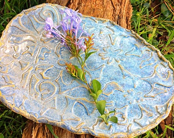 Handmade blue pottery ceramic serving plate rustic lace cheese platter