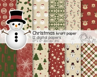 "Christmas kraft paper digital paper pack, instant download, 12"" x 12"""