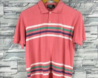 Vintage Polo RALPH LAUREN Shirt Men Medium Ralph Lauren Striped Pink 90's Polo Sport 1992 Ralph Lauren Stripes Polo Shirt Size M