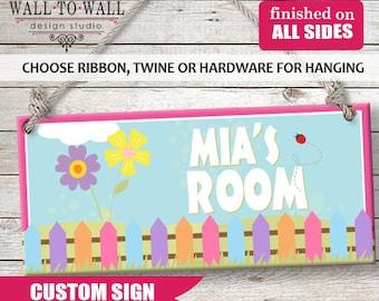 Custom PERSONALIZED Kids Wall Sign Room Decor Door Plaque Tweet Dreams Cute Little Ladybug Birdhouse Girls Pink Flower Theme Sign GREAT Gift