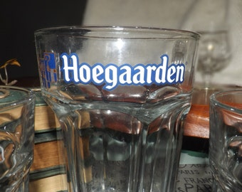 Vintage (c.1970s) Hoegaarden Belgian Beer 3-piece set: 2 pint glasses and a large serving vessel.  Etched logos in blue and white.