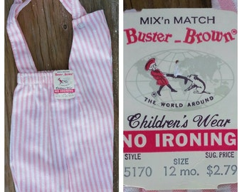 60's Deadstock Buster Brown Mix' N Match Girl's 12M Pink and White Seersucker Shorts Romper, 19-21 lbs, Made in USA, Rockabilly Baby