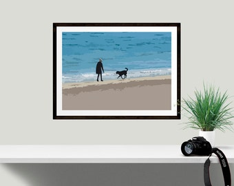 Dog Lovers Art Print, Beach House Wall Decor, Ideal gift for animal lover, Birthday present for her, Poster print in various sizes