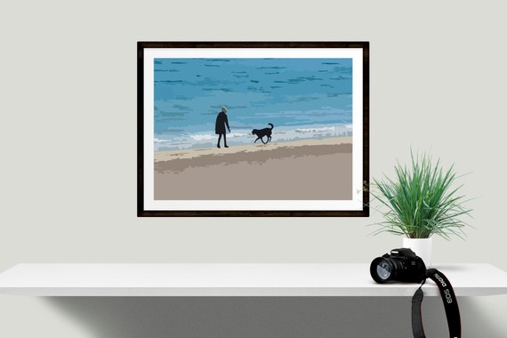 Dog lovers art print beach house wall decor ideal gift for for Dog related home decor