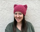Dark Pink Cat Hat, Pussyhat Project, Womens Cat Beanie, Pink Cat Ears, Pussycat Hat, March on Washington, Adult Crochet Hat, Black Cat