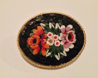 Lovely Mosaic Brooch with Vibrant Floral Motif