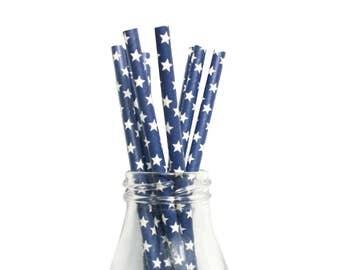 25 Navy and White Star Paper Straws, Navy Paper Straws, Paper Straws, Navy Party Straws, Star Paper Straws, Navy Party Ideas, Navy Straws.