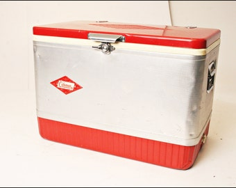Vintage COLEMAN COOLER w/ Tray metal ice chest RED silver tin cam latch diamond logo double handles mid century camping tailgate supplies
