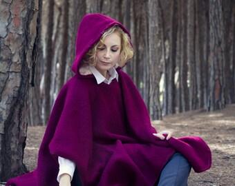 Autumn winter fairytale Elvish cloak hooded Cape bordeaux